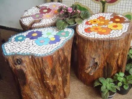Unos troncos de madera e imaginacion para realizar los mosaicos - Comunidad de Decoracion Google+