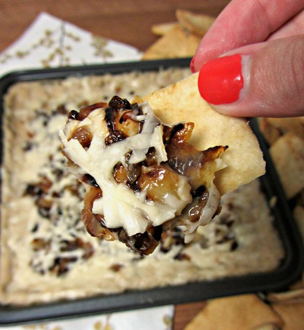 Asiago White Bean Dip! layered with caramelized onions & kept lean with greek yogurt!