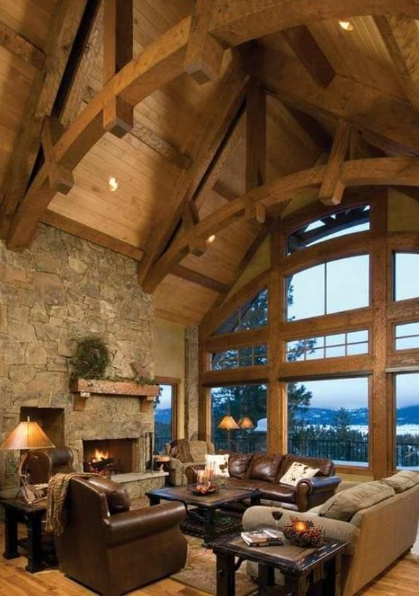 Love the vaulted ceiling wood beamed ceilings pinterest for Wood vaulted ceiling