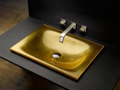 Bathroom Sinks Go Gold