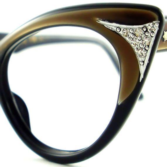 Vintage Black Cat Eye Glasses Frame France Eyeglasses ...