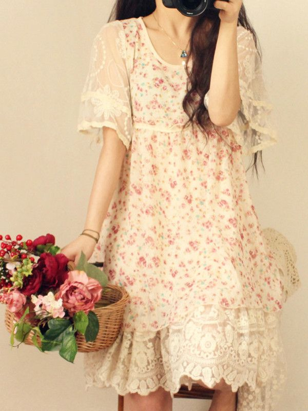 Japanese Mori girl floral lace doll dress