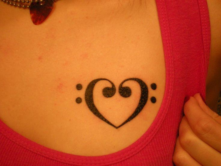 Bass Clef Heart Tattoo