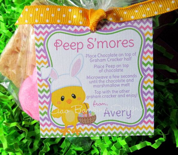 ... Easter Peeps S'Mores Party Favor Tags, You Print - Easter C