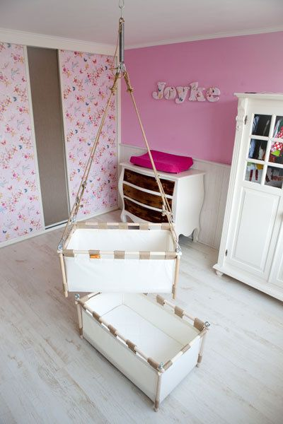 Hanging- standing baby crib / cradle from natural materials and organ ...