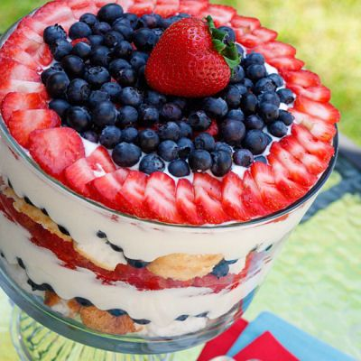 Red White and Blueberry Trifle. A heavenly mixed berry trifle made ...
