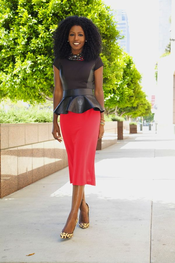 black peplum top coral pencil skirt fashionably modest