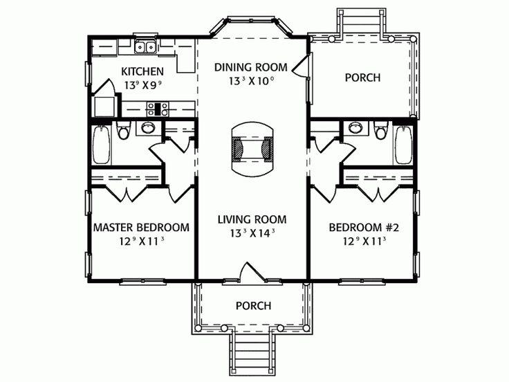 2 Bedroom Floor Plan Guest House Pinterest