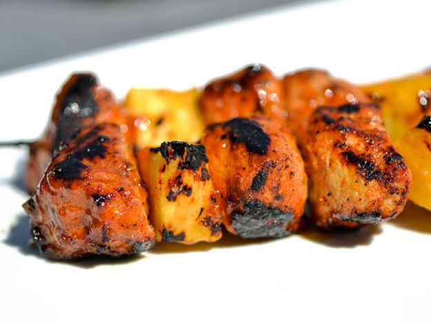 ... and Spicy Apricot-Glazed Pork and Pineapple Kebabs #grilling #recipe