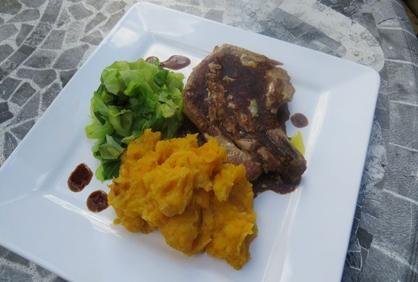 Cider Braised Pork Chops with Mash and Mustard Greens Recipe. A ...