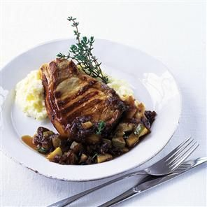 Pork chops with onion and pear chutney recipe
