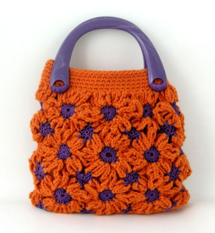 Small crochet bag, orange tangerine, purple, daisy flower patterned ...