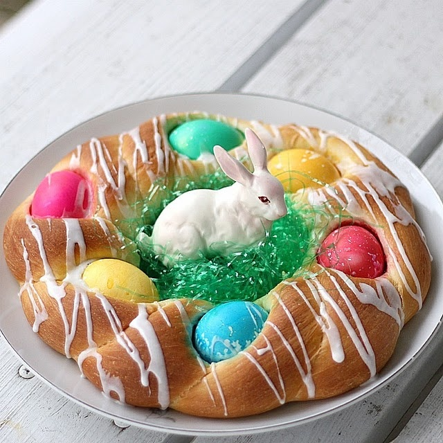 Easter Bread..could use dyed toasted coconut for grass.