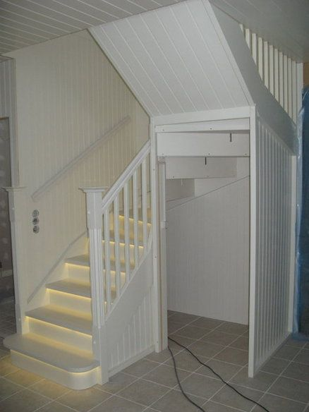 white stairs with led lights basement ideas pinterest
