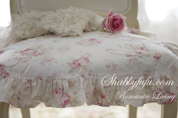 Shabby chic ruffled chair cushions exclusive to shabbyfufu
