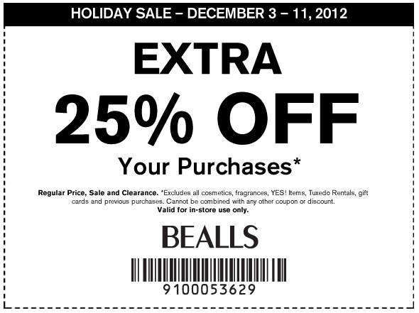 How to use a Bealls coupon Bealls, a department store that is part of the Stage Stores family, offers special deals around Cyber Monday and the holidays when you use promo codes for men's, women's and children's clothing and accessories. During special sales, get discounts of up to 20% off and free shipping on orders%().