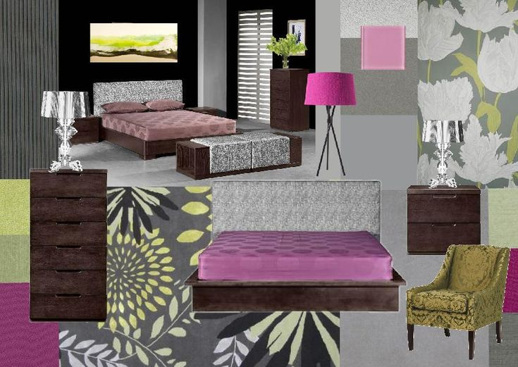 Green And Grey With Pink Purple Bedroom Room Ideas Pinterest