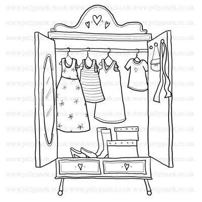 Clip Art Open Wardrobe Sketch Coloring Page
