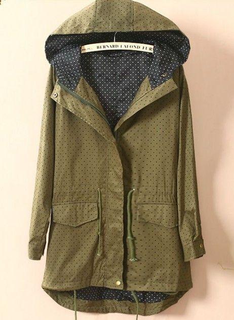 polka dot coat.