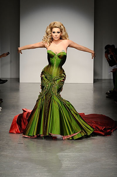 While not likely available for purchase, I cannot complete a gallery of corset dresses without this piece by Ziad Ghanem (modelled by Immodesty Blaize, Fall 2010)