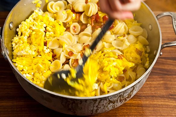 Summer weekend pasta with bacon cheese and corn