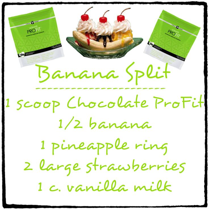 Banana Split. Yummy in the Tummy! 1 Scoop Chocolate ProFit 1/2 Banana ...