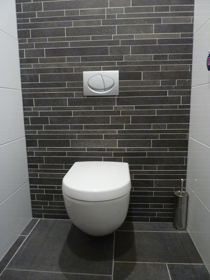 Voorzetwand met donkere muretto tegels tegelhuys toilet tegels tiles pinterest - Tegel model voor wc ...