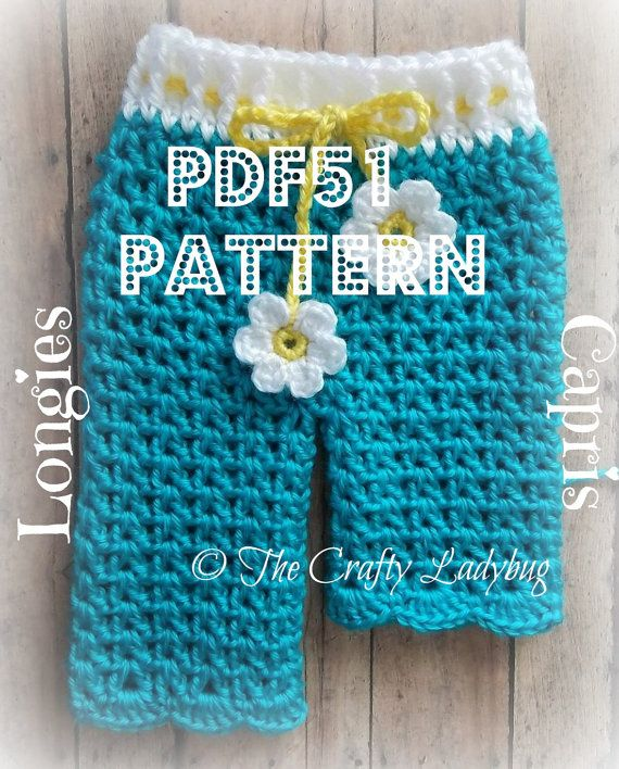 Free Crochet Pattern For Baby Pants : Baby daisy pants - spring longies or capris - crochet ...