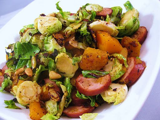 ... Shredded Brussels Sprouts with Winter Squash and Apple Chicken Sausage