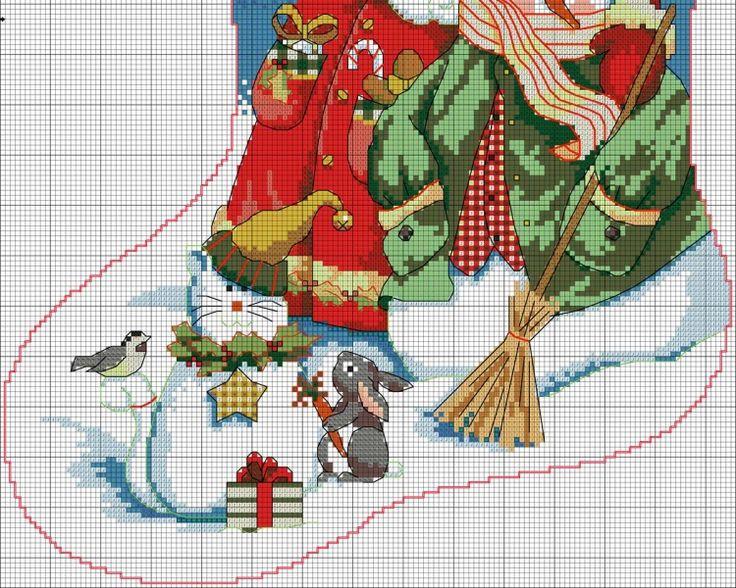 Вышивка для новогоднего сапожка 17