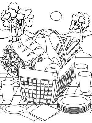 Printable Summer Coloring Pages: Picnic Basket (via Parents.com)