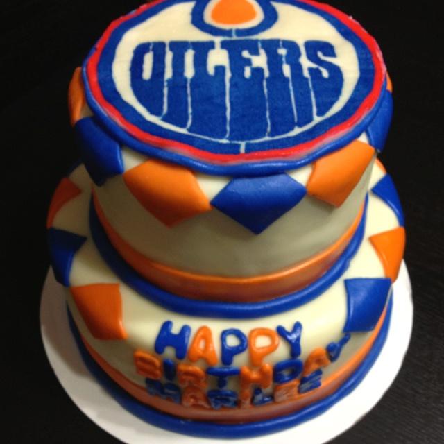 Edmonton Oiler birthday cake. The logo was done by frozen buttercream ...