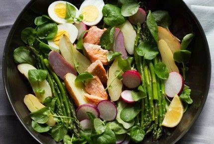 ... Sophistication: Salmon, Asparagus, Watercress Salad with Crèm