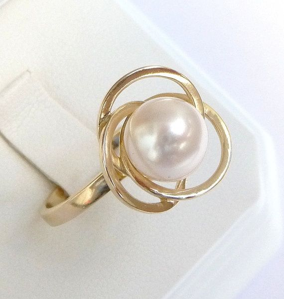engagement ring pearl ring unique promise ring 14k solid