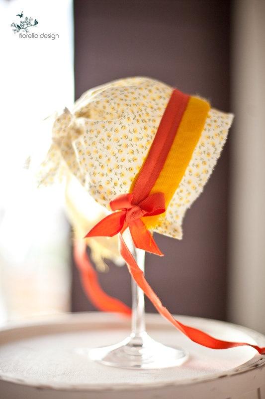 Vintage Fabric Baby Bonnet  -