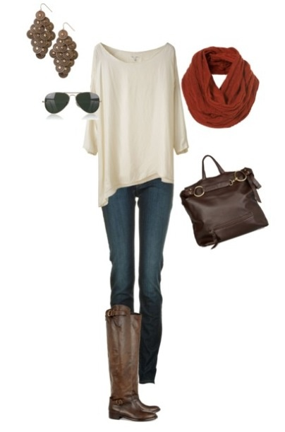 Love the slinky white sweater top w/ skinny and thigh high boots. Added soft scarf and aviators perfect for fall