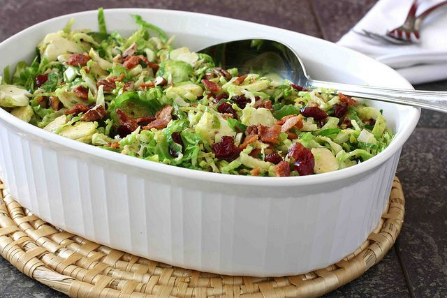 Shredded Brussels Sprouts with Bacon, Cranberries & Pecans Reicpe by ...