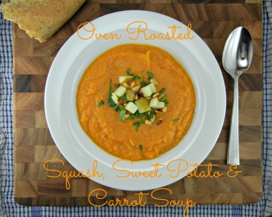 Oven Roasted Squash, Sweet Potato and Carrot soup
