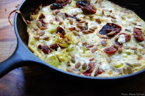 ... veggies. Frittata, aka lazy omlet, sun-dried tomato/goat cheese