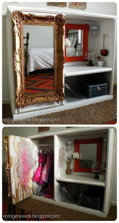 Old entertainment unit as glam dressup wardrobe, via Pinterest