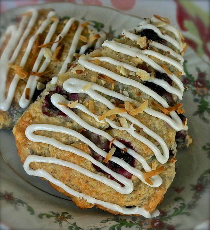 Huckleberry Scones with white chocolate, almonds and toasted coconut