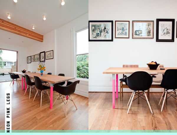 neon pink dining table legs