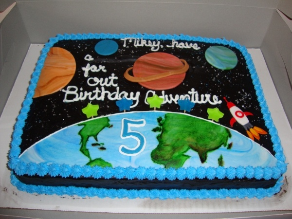 Outer space cake for my 5 year old son themed sweets for Outer space cake design