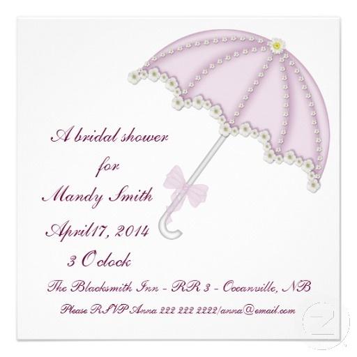 Bridal Shower Invitation Pink Umbrella