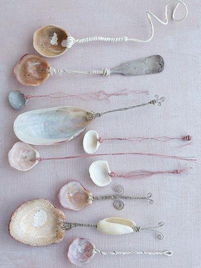 Click to enlarge image sea-shell-spoons-1.jpg #art #beachhouse #shells #mermaid #spoons