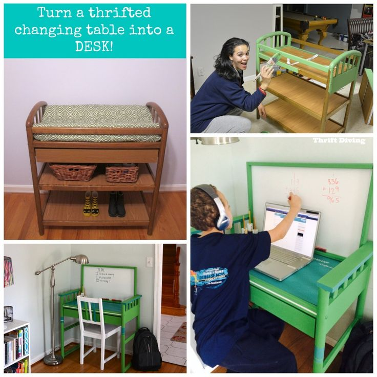 Turn a thrifted changing table into a desk