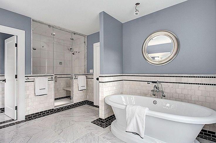 Nice blue master bathroom