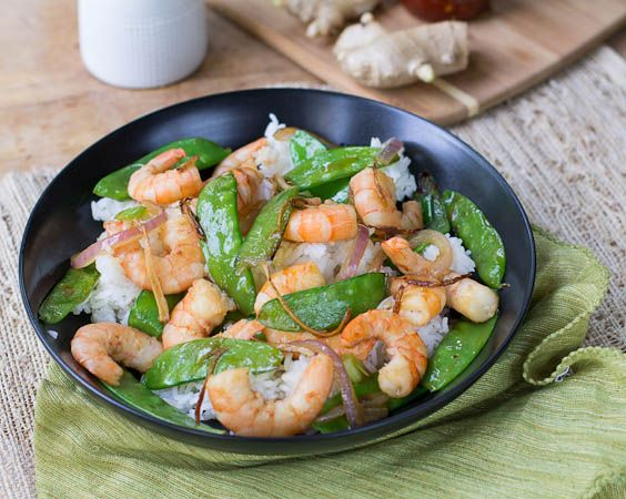Gingered Stir Fry with Shrimp and Snow Peas | Recipe