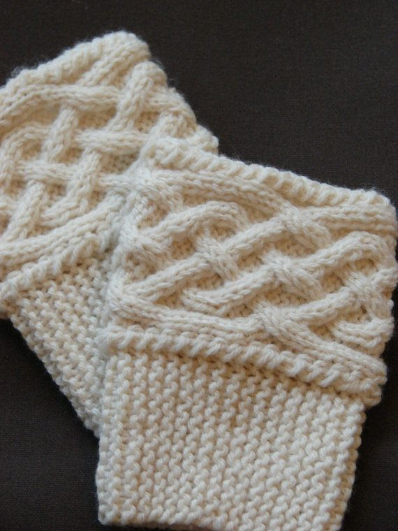 Hand Knit Boot Cuff/Topper - Celtic Knot