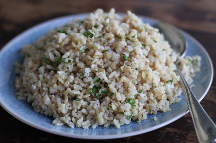 Baked Garlic Brown Rice | food | Pinterest